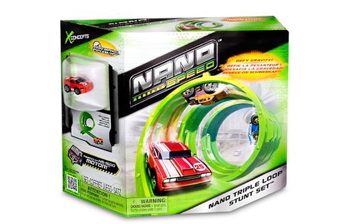 pista brinquedo nano triple loop stunt set nano speed