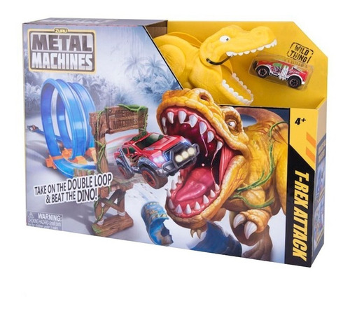 pista de autos t-rex attack metal machines original zuru