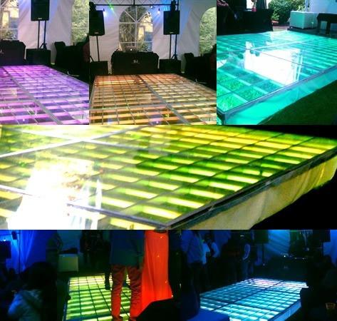 pista de baile iluminada con cristal templado en renta