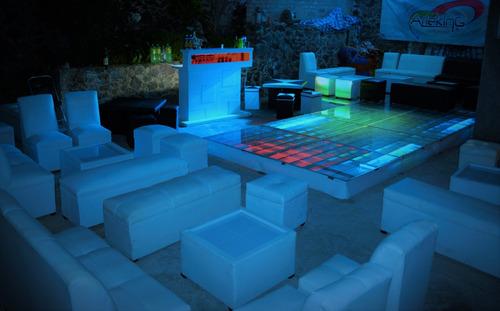 pista de baile iluminada de cristal dj audio animación salas