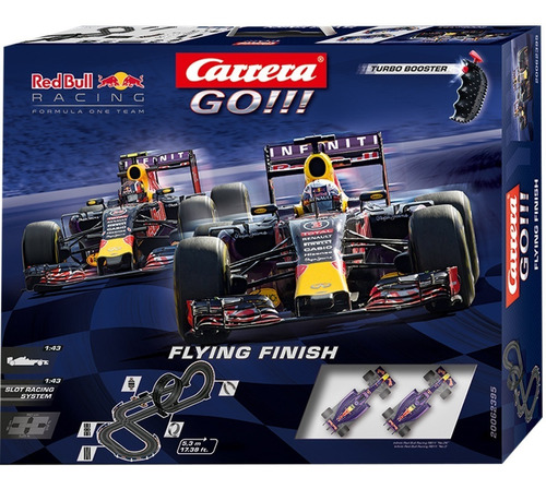 pista de carreras autos flying finish red bull go electrica