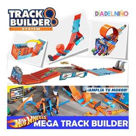 Pista De Carreras Hot Wheels Track Builder Mega Caja 3 En 1