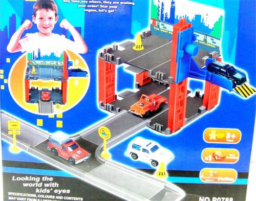 pista de carro estacionamiento súper garaje con 1 carro