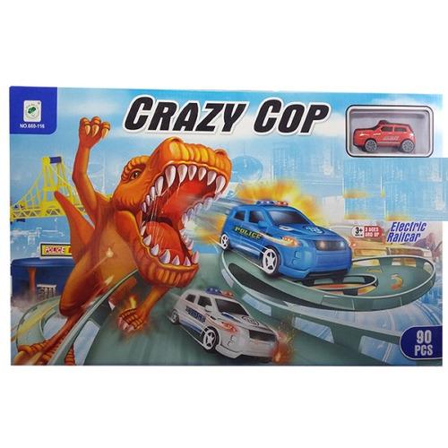 pista de carros crazy cop 30 piezas estacion de policia