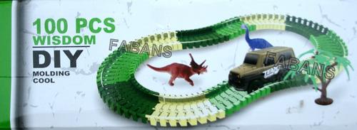 pista dinosaurio carrito jurassic juguete carro niño magic