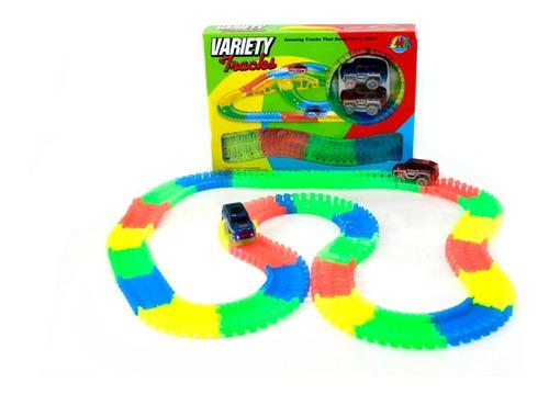 pista flexible variety tracks 220 piezas auto x2 luz led