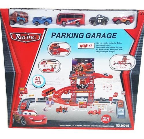 pista garagem carros disney mcqueen fricção 41 pçs 5 carros