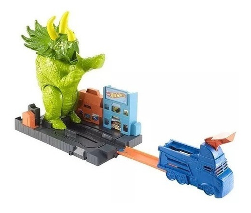 pista hot wheels city track ataque de triceratops dinossauro