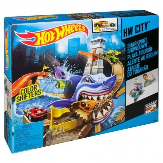 Pista hot wheels color change ataque do tubar o mattel for Garage team city