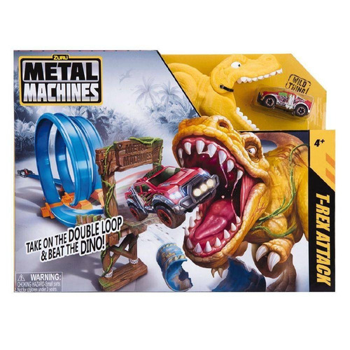 pista loop carrinhos metal machines dinossauro t-rex attack