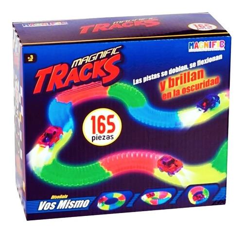 pista luminosa con 1 autos magnific tracks 165 piezas brilla