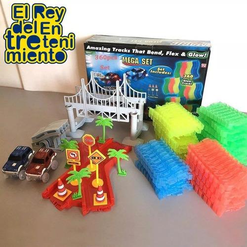 pista magic tracks flexible 360pcs +2 autos + regalo! el rey
