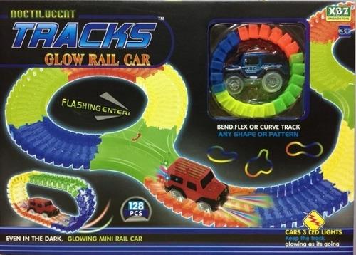 pista magic tracks luminosa flexible 128 pz auto luminoso