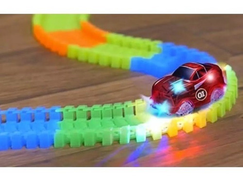 pista mágica flexible luminosa 116 piezas 255 cm. 1 giro.