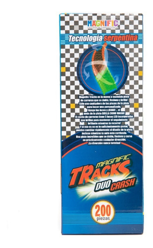 pista magnific tracks duo crash 200 pcs 2 autos luz 2025 ful