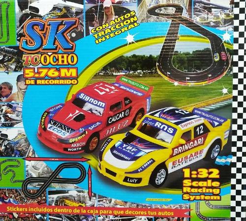 pista tipo scalextric 5,76m longitud autos tc 1:32 sk 97003