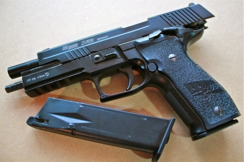 pistola, aire sigsauer x-five, co2, pipetas, balines, carnet