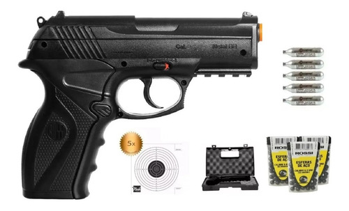 pistola airgun co2 rossi c11 6mm - lançamento esferas metal
