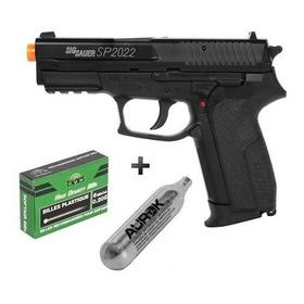 Pistola Airsoft Co2 Sig Sauer Sp2022 Slide Metal + Bbs + Co2