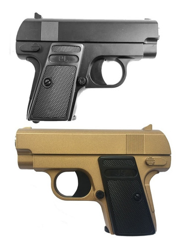 pistola airsoft colt 1908 baby full metal resorte black gold