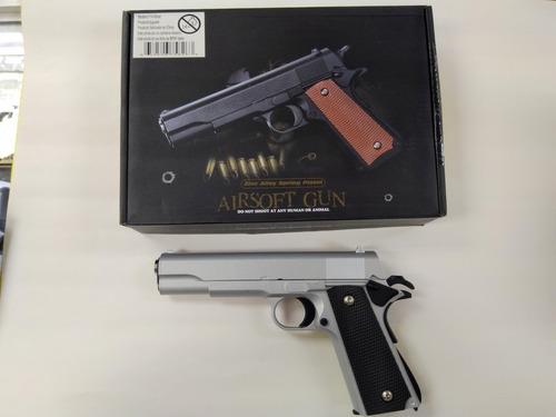 pistola airsoft colt m1911 a1, silver-desert, metalica,23cm!