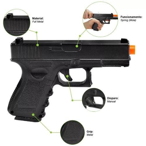 pistola airsoft glock g15 full metal 6mm +1000 bbs - spring