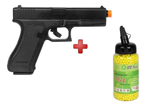 pistola airsoft spring kwc glock g7 + bbs bb king 0.12g
