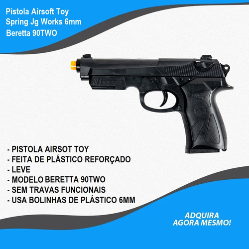 pistola airsoft toy spring jg works 6mm arsenal rio