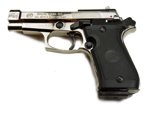 pistola bruni 85 niquel beretta de fogueo detonadora 9mm.