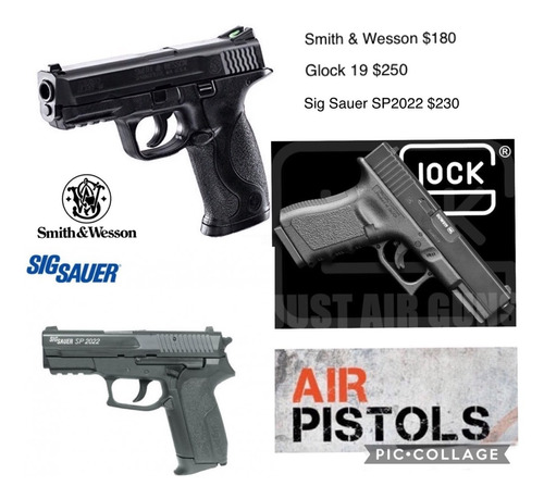 pistola co2 smith & wesson mp40, glock 19, sig sauer sp2022.