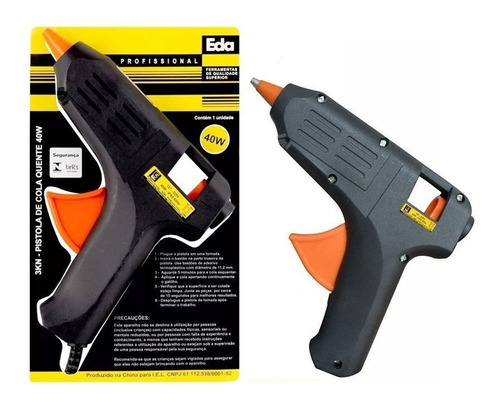 pistola cola quente silicone 40w bivolt inmetro + 4 bastões