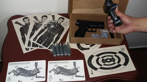 pistola de aire 6 gases y 200bbs metalicos