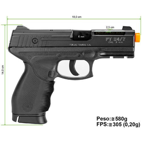 pistola de airsoft  à gás co2 24/7 slide metal gnb + brinde