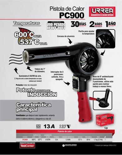 pistola de calor 600°c 120v 13a uso extra pesado pc900 urrea