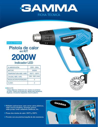 pistola de calor gamma 2000w 9 luz led kit accesorios