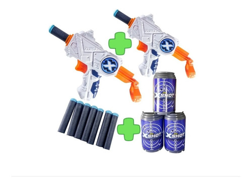 pistola de dardos juguete xshot 2x micro + 8 dardos 3 latas