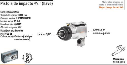 pistola de impacto neumática de 3/8 / 75 lb/ft truper 16885