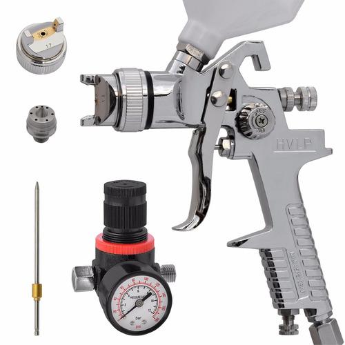 pistola de pintura automotiva 600ml hvpl 2 bicos e manômetro