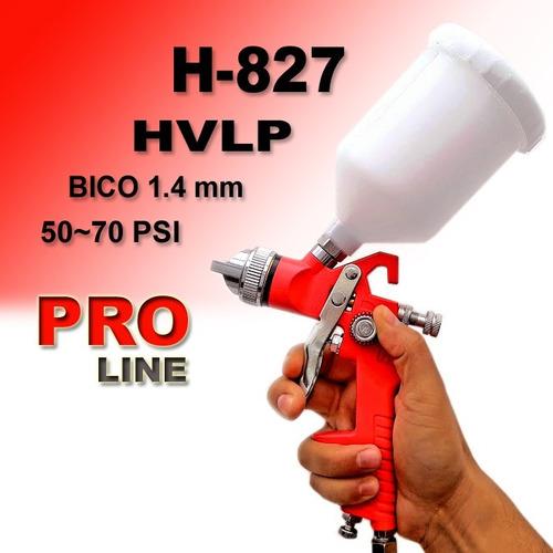 pistola de pintura hvlp bico 1,4 mm 600ml h-827 profissional