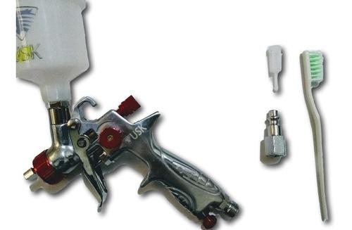 pistola de pintura hvlp usk 887 bico 0.8mm caneca 125 ml