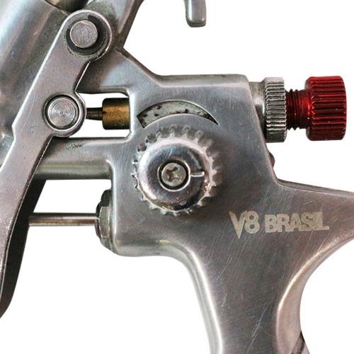 pistola de pintura v8 brasil bico 0.8 caneca 125ml ppk4