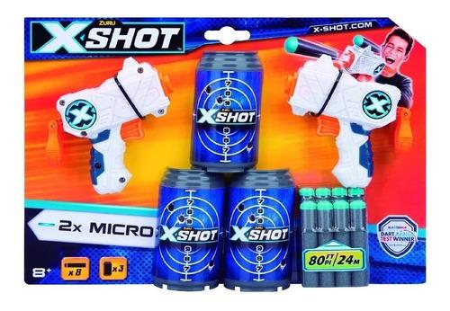 pistola doble micro lanza dardos hasta 24m x-shot creciendo