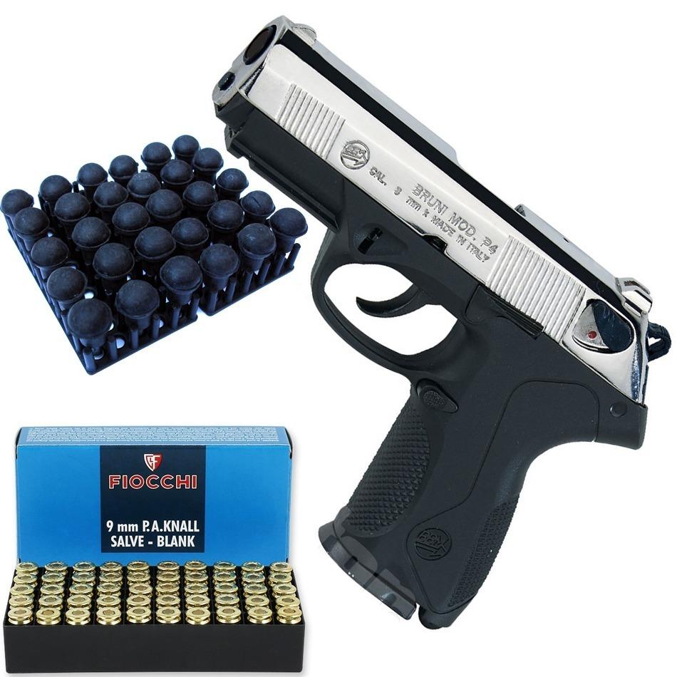 Pistola Fogueo Bruni P4 Cromo 9mm + 50 Balas + 50 Postas