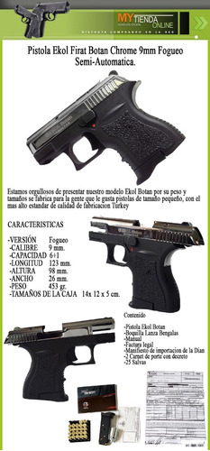 pistola fogueo mini ekol botan satina 9mm salvas walther