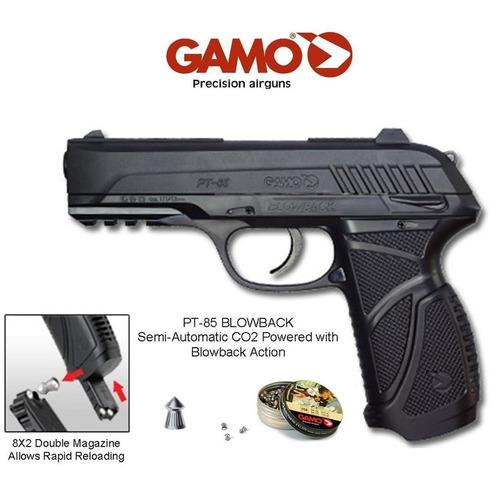 pistola gamo pt 85, 450fps, c02, copas, diabolos cal 4.5