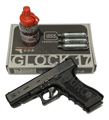 pistola glock 17 blowback co2 + 1500 balines + 3 tubos degas
