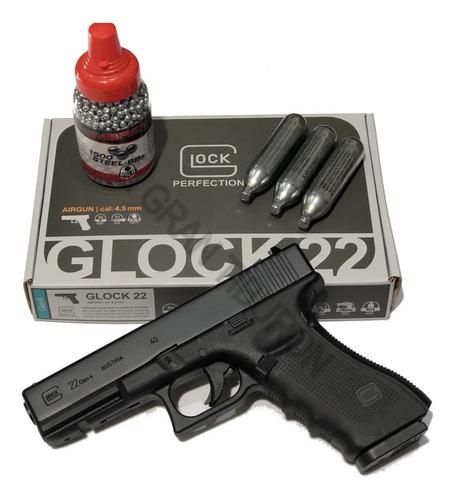 pistola glock 22 co2 + 1500 balines + 3 tubos de gas