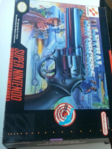 pistola lethal enforcers caixa super nintendo coleçao a+++