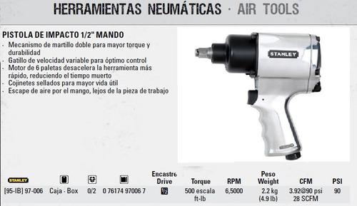 pistola llave de impacto neumatica 1/2 stanley racing prof,