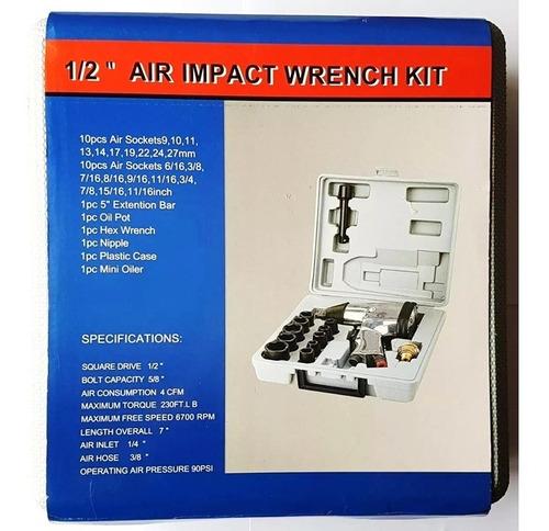 pistola neumática de impacto 1/2 con  dados y accesorios